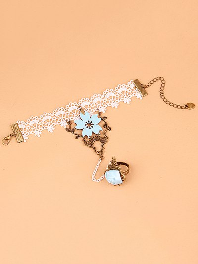 Filigree Branch Lace Bracelet with Ring - COLORMIX  Mobile