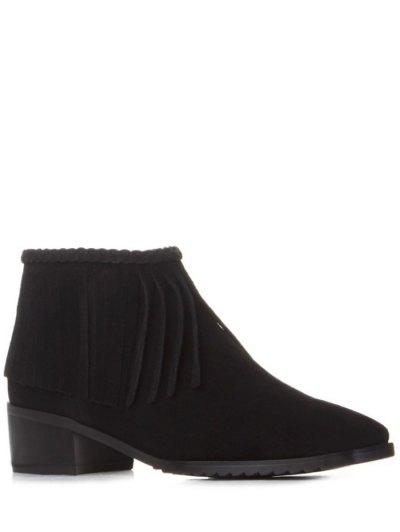 Fringe Square Toe Ankle Boots - BLACK 39 Mobile