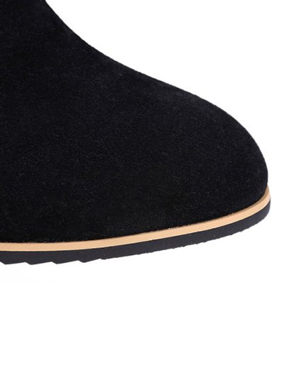 Chunky Heel Elastic Band Ankle Boots - BLACK 38 Mobile