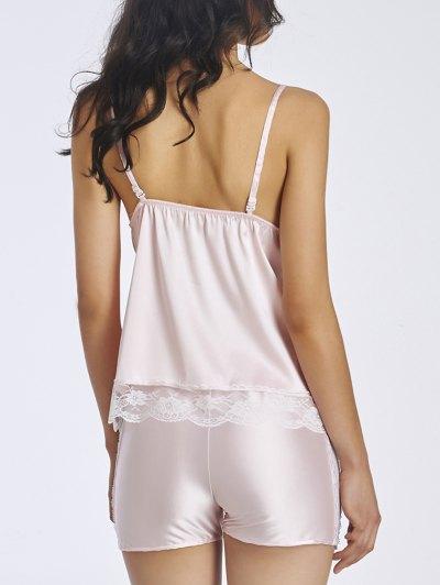 Lace Insert Spaghetti Strap Sleepwear - LIGHT PINK M Mobile