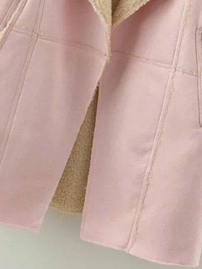 Lapel Collar Suede Coat - GRAY M Mobile