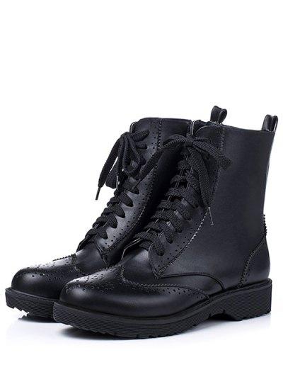 Engraving Tie Up Flat Heel Short Boots - BLACK 38 Mobile