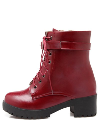 Buckle Lace-Up Round Toe Short Boots - WINE RED 39 Mobile