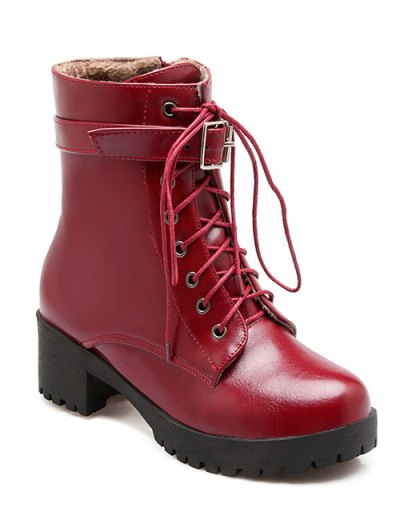 Buckle Lace-Up Round Toe Short Boots - WINE RED 37 Mobile