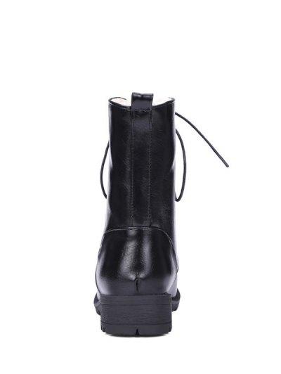 Black Color Lace-Up Combat Boots - BLACK 39 Mobile