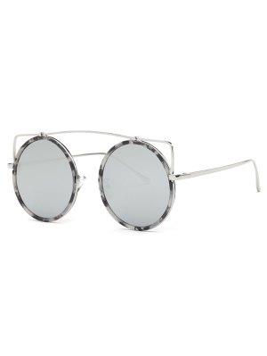 Crossbar Round Marble Sunglasses - Silver