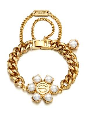 Punk Faux Pearl Bracelet - Golden
