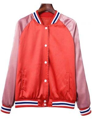 Color Block Baseball Jacket - Orange Red