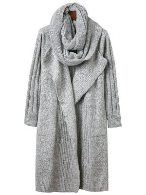 Circle Scarf Neck Open Front Cardigan - Gray