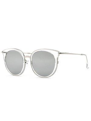 Transparent Cat Eye Mirrored Sunglasses - Light Gray