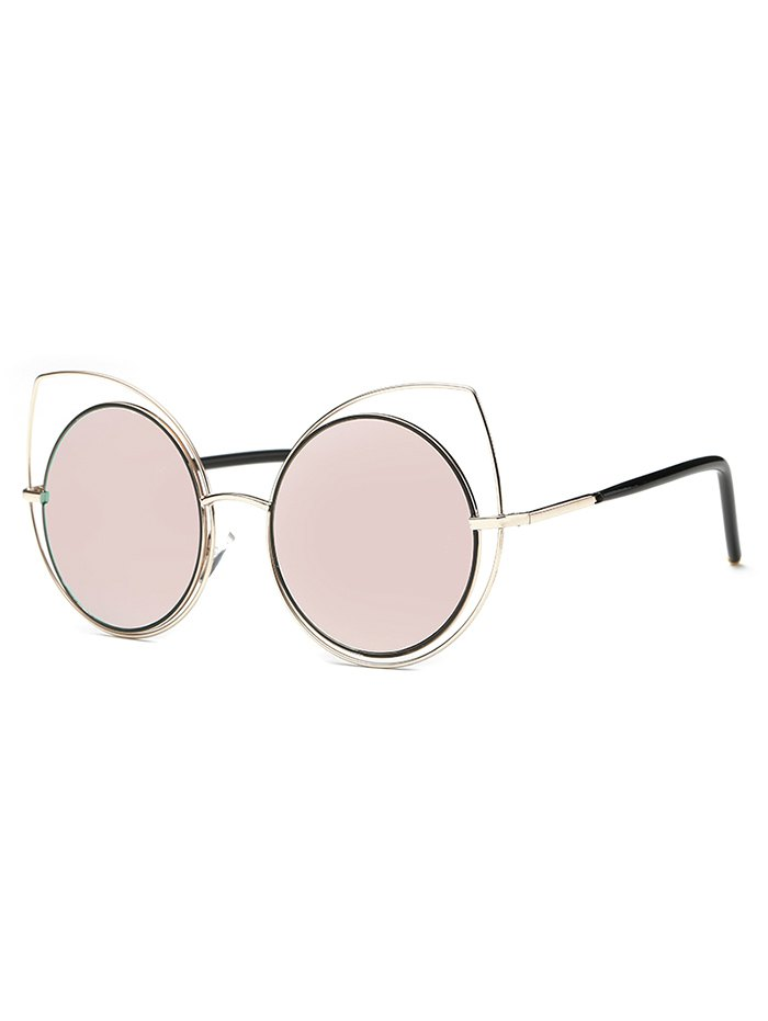 Cute Hollow Out Cat Eye Mirrored Sunglasses