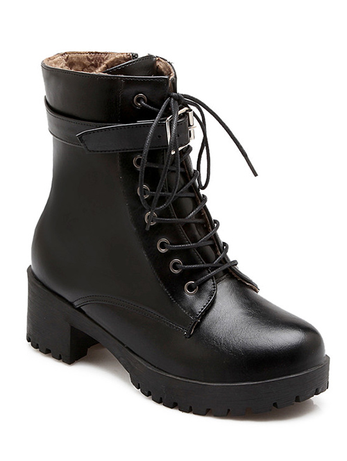 Buckle Design Short Boots For Women
