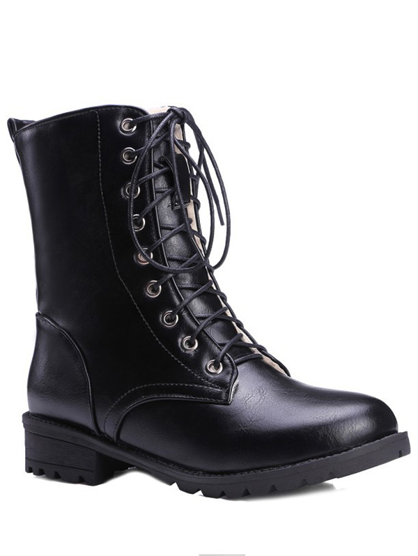 Black Color Lace Up Combat Boots