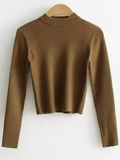 Mock Neck Long Sleeve Cropped Sweater