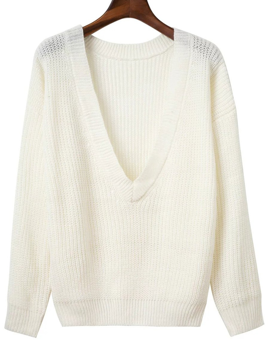 V Back Chunky Sweater