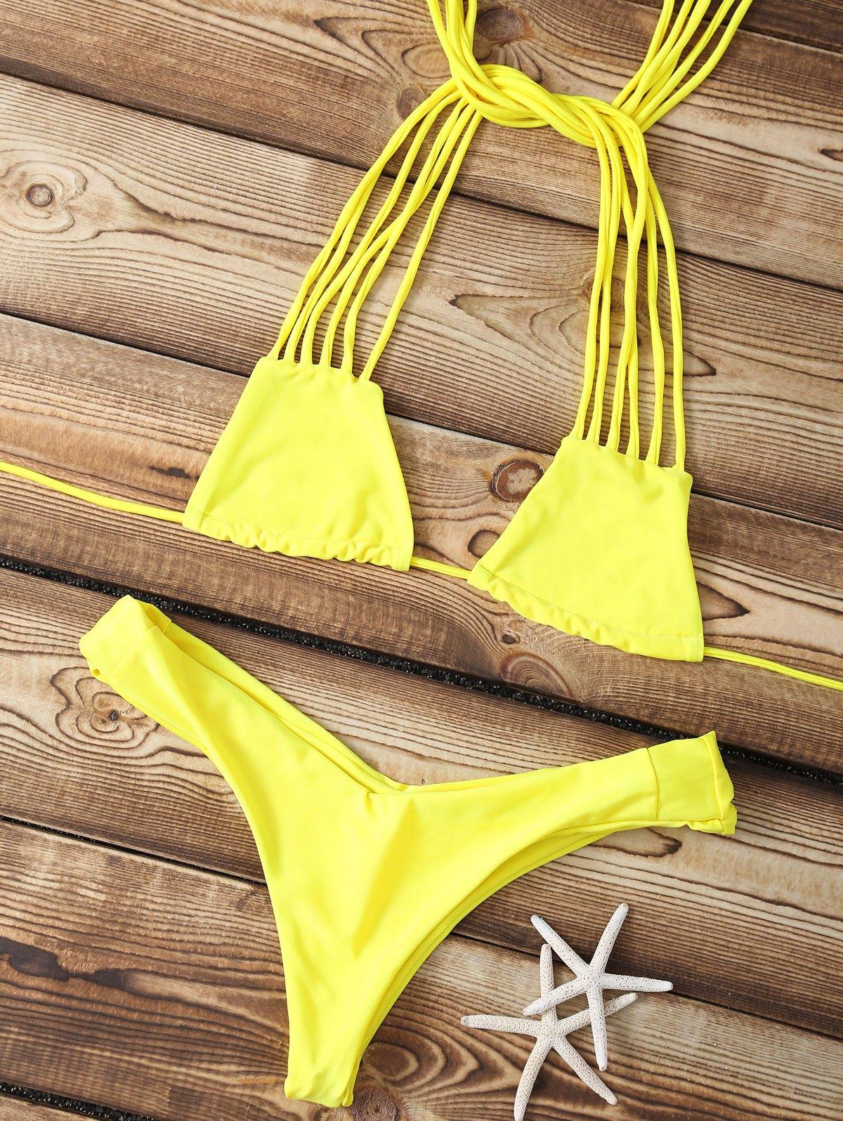 Solid Color Strappy Bikini Set