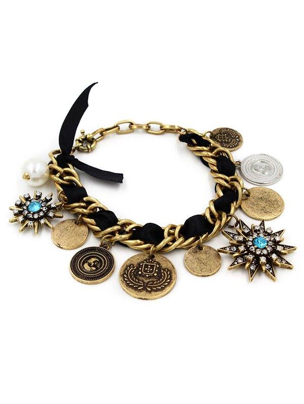 Rhinestone Coin Fringe Bracelet