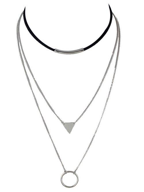 Triangle Circle Bar Multiayer Choker