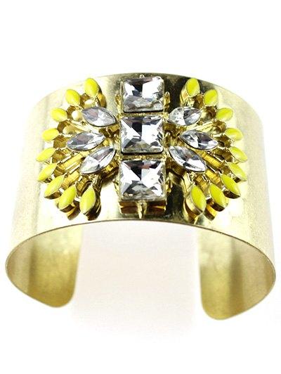 Faux Crystal Wide Cuff Bracelet