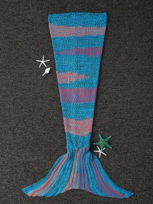 شريط محبوك حورية البحر الذيل بطانية - الأزرق والبرتقالي