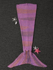 Stripe Knitted Mermaid Tail Blanket - Light Purple