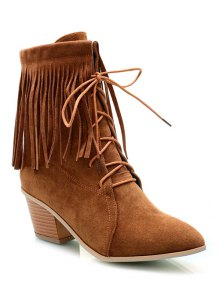 Buy Fringe Tie Chunky Heel Short Boots 39 BROWN