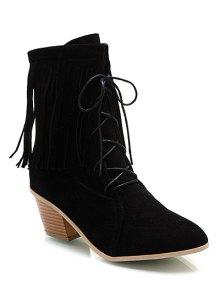 Buy Fringe Tie Chunky Heel Short Boots 38 BLACK