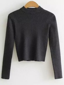 Mock Neck Cropped Pullover Sweater - Deep Gray