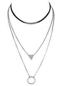 Multiayer Circle Triangle Bar Choker