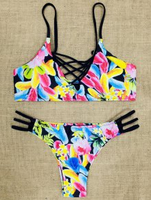 Spaghetti Strap Cut Out Strappy Floral Print Bikini Set