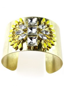 Wide Faux Crystal Cuff Bracelet