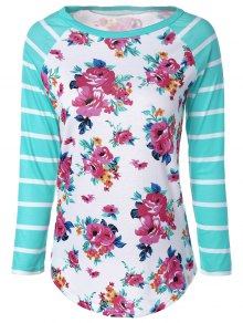 Long Sleeve Floral Stripe Tee