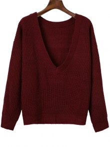 V Back Chunky Sweater - Wine Red