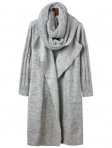 Circle Scarf Neck Open Front Cardigan