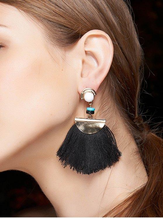 Bead Semicircle Tassel Earrings - BLACK  Mobile