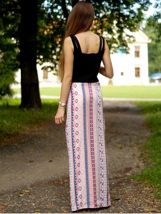 Ethnic Print A Line Slit Skirt - PINK L Mobile