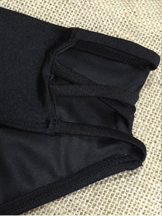Strappy Plunge Bra Set - BLACK M Mobile