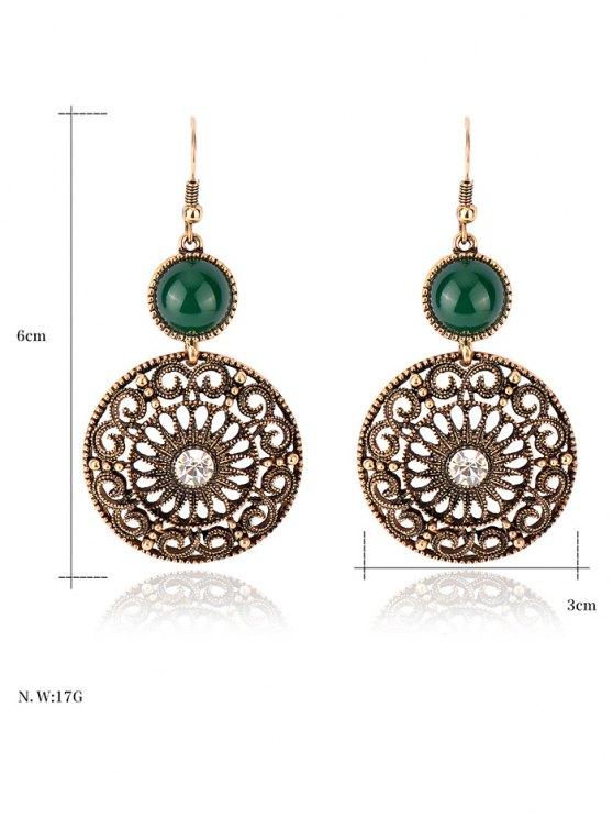 Rhinestone Filigree Floral Earrings - GREEN  Mobile