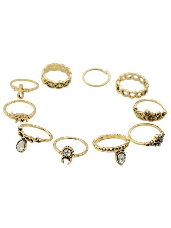Anillos de diamantes de imitación de elefante florales - Dorado Uno de tamaño