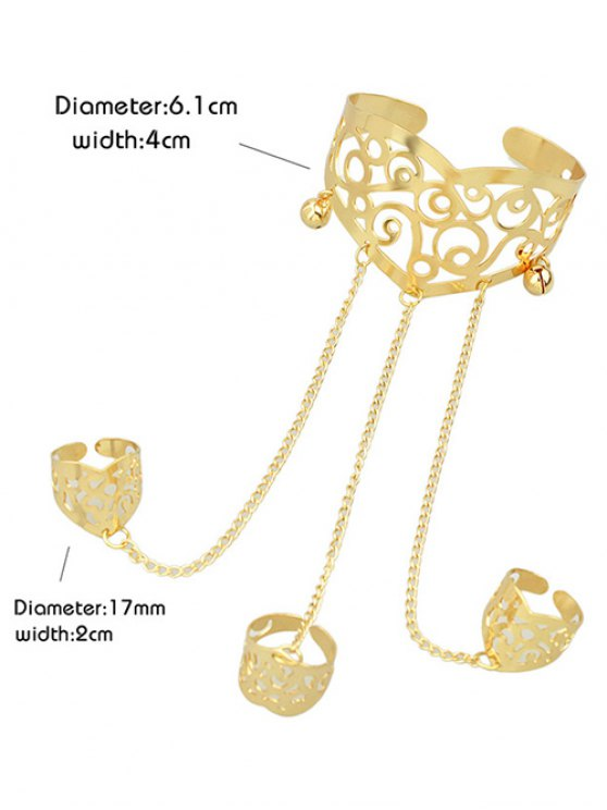 Hollow Out Bracelet With Ring - GOLDEN ONE-SIZE Mobile