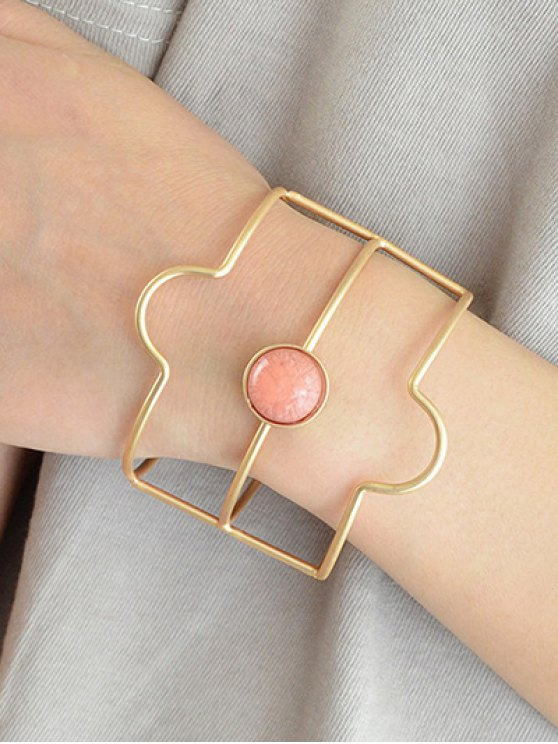 Layered Faux Gem Cuff Bracelet - GOLDEN  Mobile