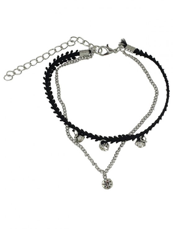 Strass Layered Chain Anklet - Argent