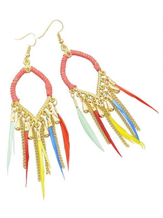 Water Drop Feather Earrings - COLORMIX  Mobile