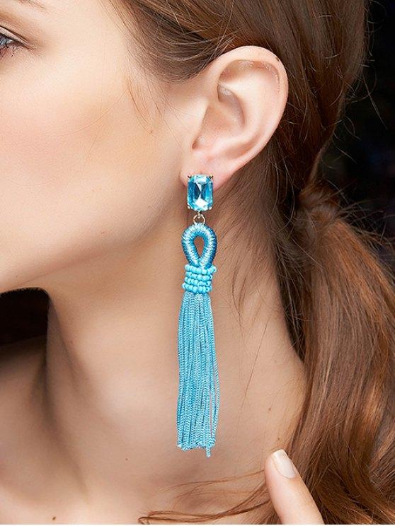 Faux Crystal Tassel Drop Earrings - Azul