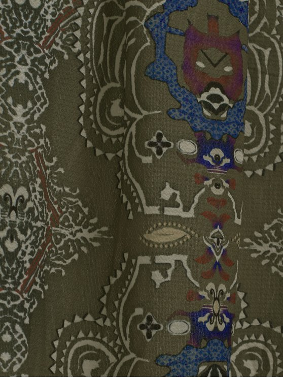 Printed Pleated Bohemian Skirt - GREEN L Mobile
