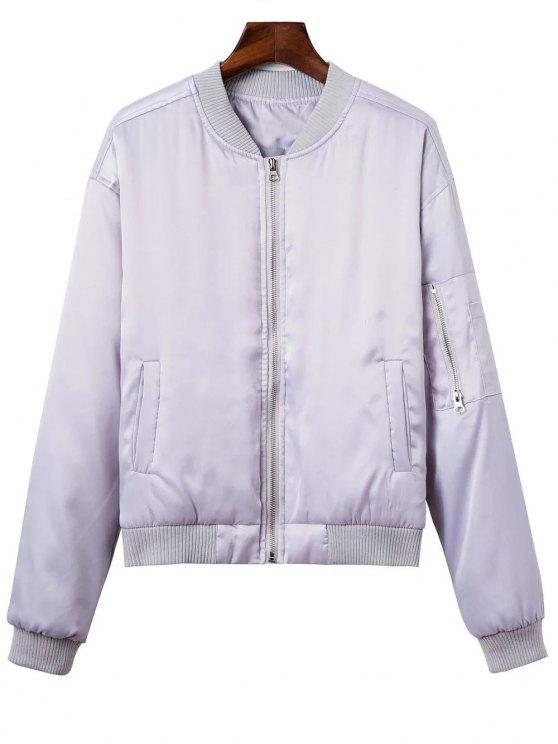 chic Zipped Windbreaker Jacket - SILVER M