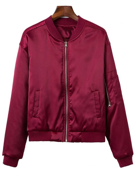 Zipped Windbreaker Jacket - WINE RED M Mobile