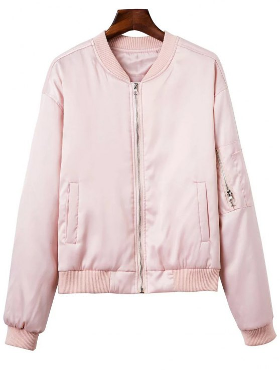 Zipped Windbreaker Jacket - PINK M Mobile