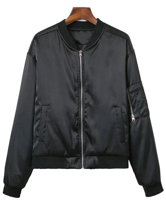 new Zipped Windbreaker Jacket - BLACK S