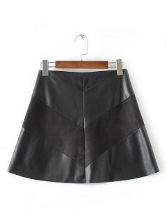 High-Waisted Faux Leather Mini Zippered Skirt - Black L